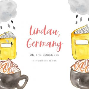 Graphic with cloud, book, and coffee mug. Title of the blog post on Lindau Germany