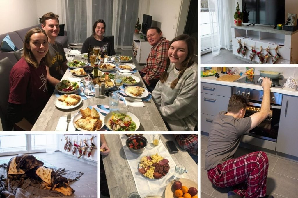 Collage of photos of a family christmas. Food, stockings, and people eating.