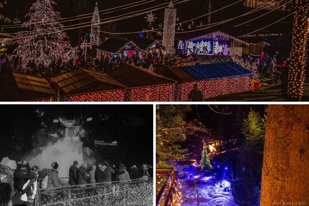 Collage of photos at the Christmas Light show at Triberger Falls.