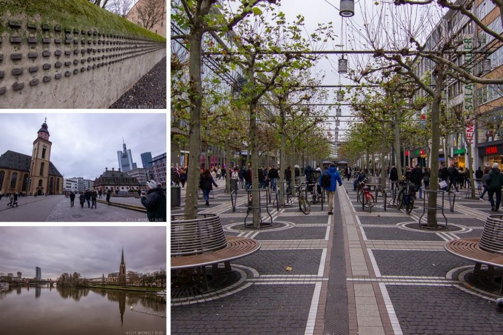 Top left: Wall of plaques with names on them. Middle- square in Frankfrut. Bottom: Overview of Frankfurt. Right: Walking promenade in Frankfurt with people shopping.