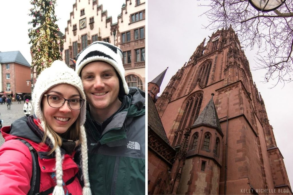 Left; Man and woman smiling at camera. Right: Church steeple