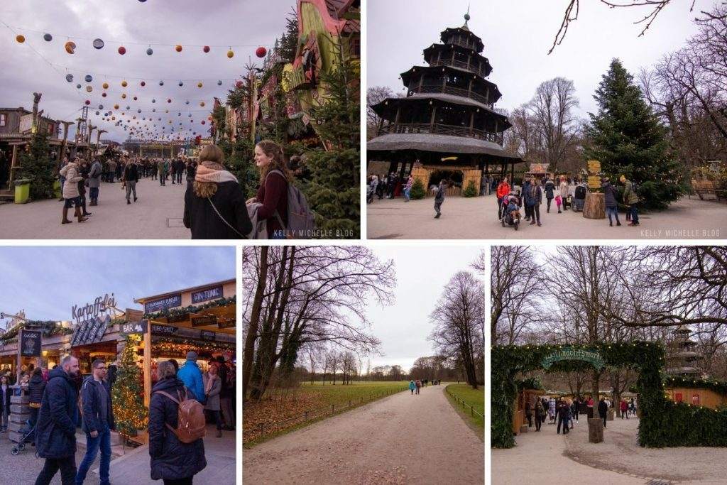 Collage of different Christmas markets in Munich.