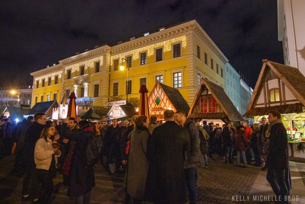People in front of Christmas Market in Munich.