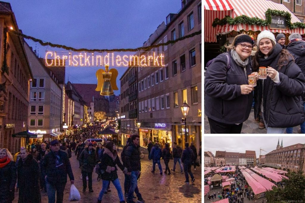 Left: entrance to christmas market. Top right: 2 women smiling at camera while holding hot chocolate Bottom right: overlooking Christmas market.