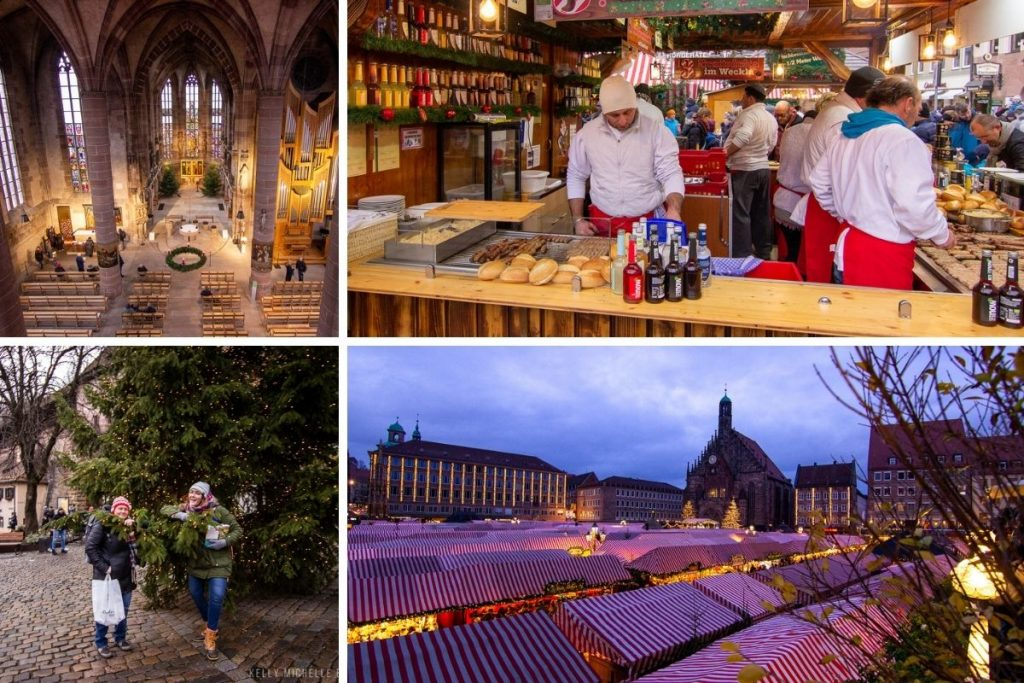Collage of photos at Nuremberg Christmas Market. Top left: Inside of a church looking down at seats and nave. Top right: People cooking sandwiches. Bottom left: two people standing in front of tree. Bottom right: Overlooking the market at dusk,