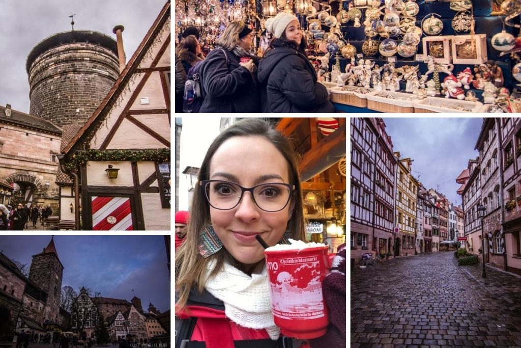 Top left: Nuremberg tower. Bottom right: German buildings at dusk. Top right: Two women looking at items in a market stand. Bottom middle: woman drinking hot chocolate. Bottom right: street of German buildings.