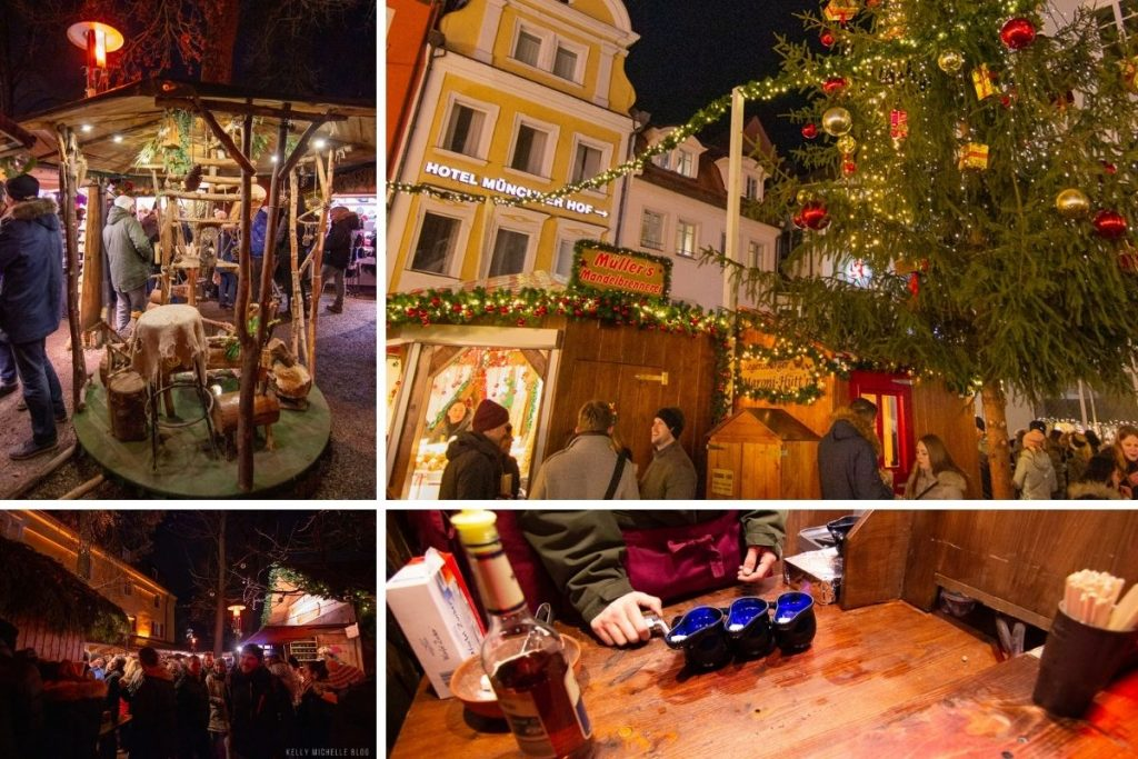 Collage of photos from Regensburg Christmas Markets. Top left: Wooden carousel Top Right: People standing in front of market booth. Bottom left: People in front of market booth. Bottom right: 3 glühweins on table.