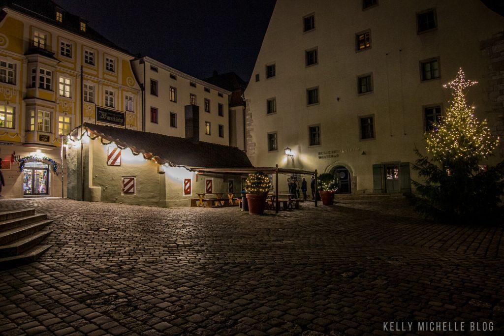 Wurstkuchen in Regensburg, Germany at night