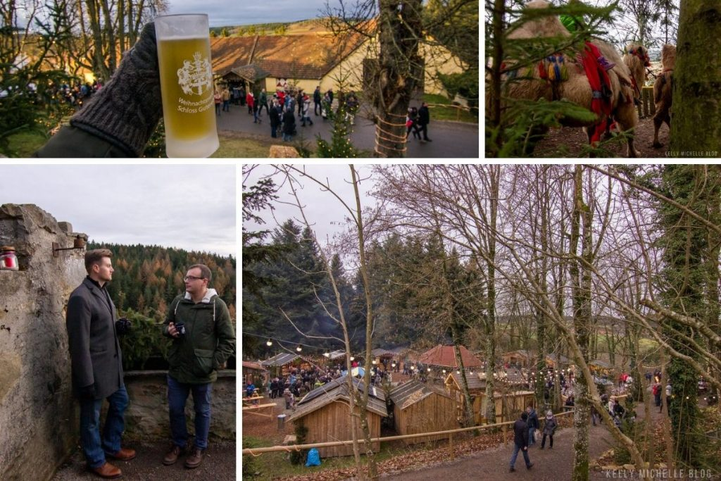 Collage of pictures of Schloss Guteneck Christmas market. Top left- Hand holding stein of gluhwein, Top right: camel walking Bottom left: two men talking while holding gluhwein Bottom right: Overview of market grounds.