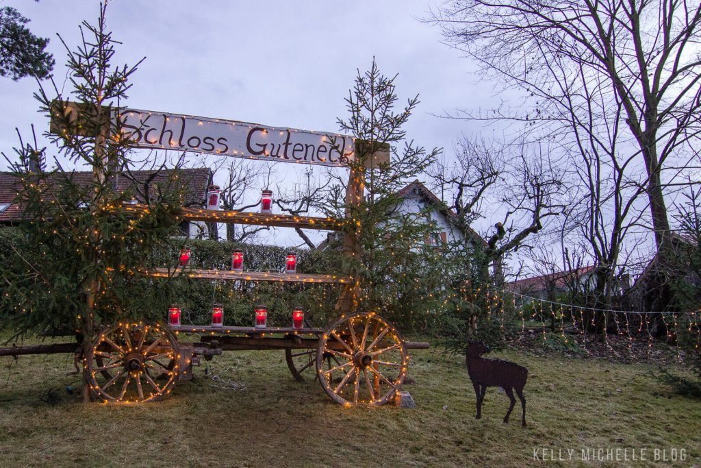 Schloss Guteneck wagon decorated with lights and candles.