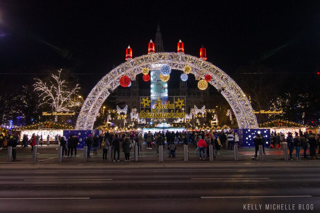 Light display welcoming people to the Vienna Christmas Market.