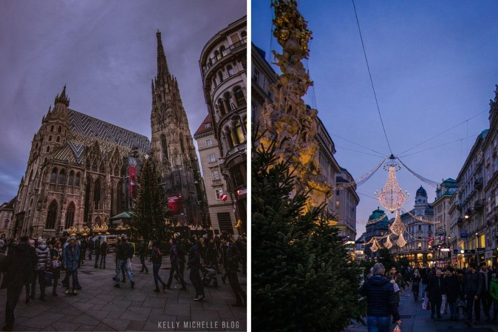 Left: St. Peters Church in Vienna. Right: Street with Christmas lights in Vienna.