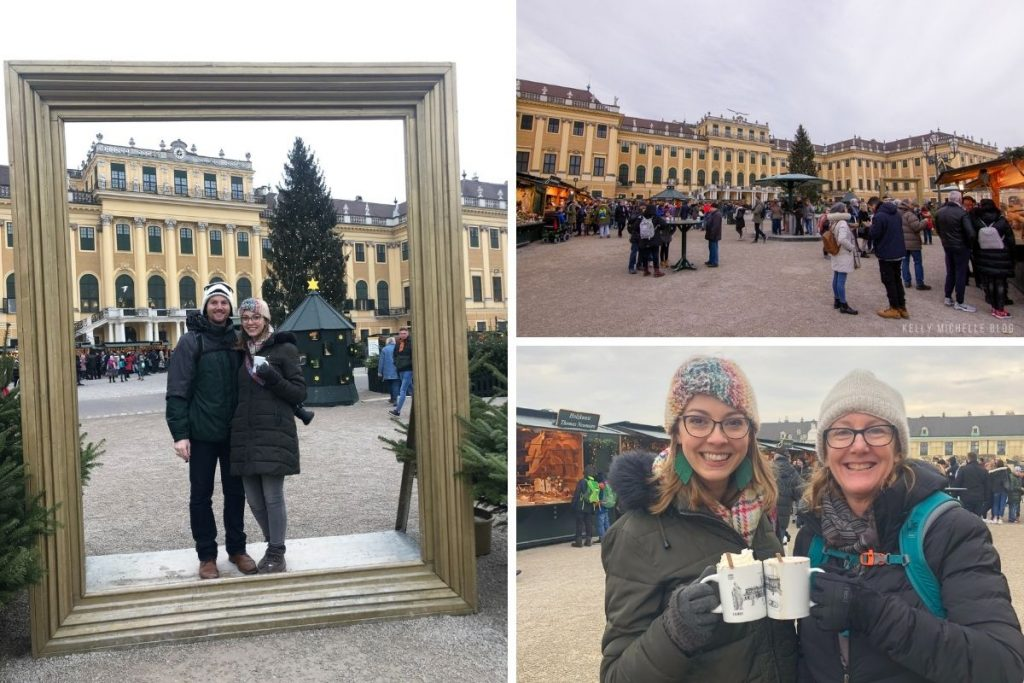 Left: Man and woman standing in large photo frame with Schönbrunn Palace in background. Top right: Schönbrunn Palace Market. Bottom right: Two women holding mugs and smiling at camera.