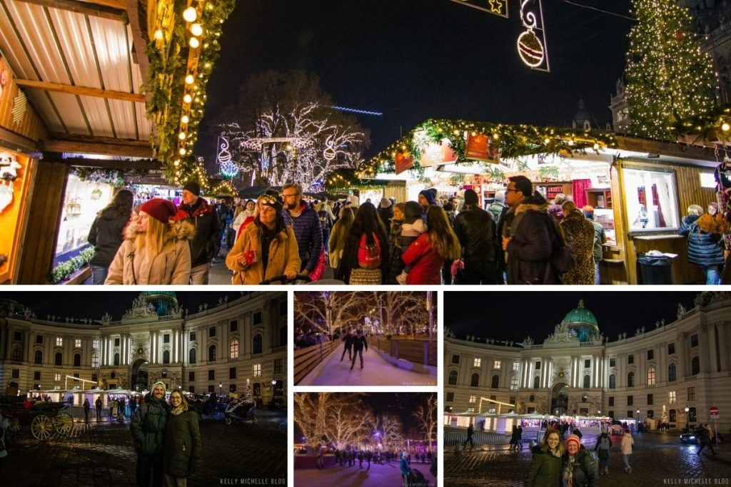 Collage of photos at various Christmas Markets in Vienna.