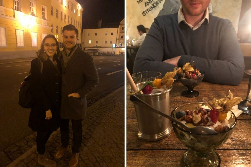 Left: man and woman standing on street and smiling. Right: dessert and drink sitting on table. Man with arms crossed in background.