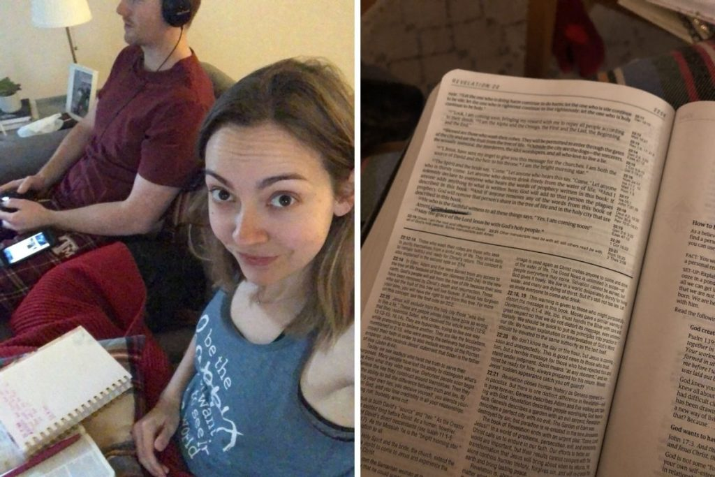 Left: Woman smirking at camera with bible in lap. Right: Bible passage